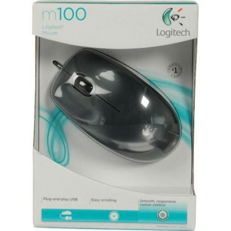 Мышь Logitech M100 dark optical USB (910-001604)