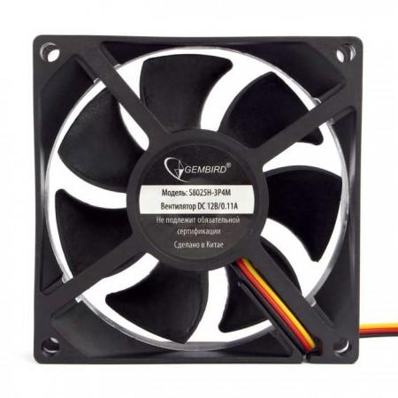Вентилятор для корпуса Gembird S8025H-3P4M 80x80x25 гидрод.