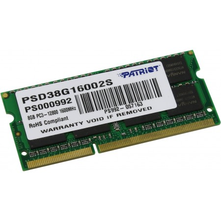 Память SO-DIMM DDR3 8Gb 1600MHz Patriot PSD38G16002S