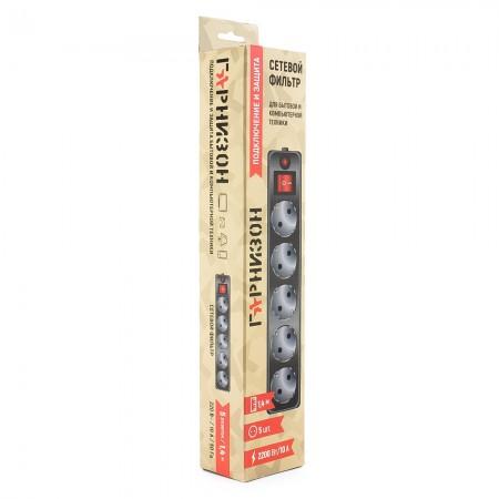 Сетевой фильтр Гарнизон 1.4м ЕНLB-5 5 розеток Черный
