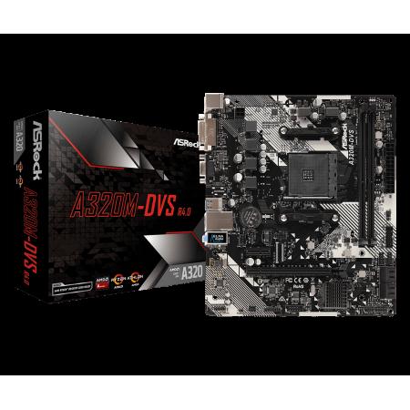 Мат. плата ASROCK A320M-DVS R4.0, Socket AM4, AMD A320, 2xD